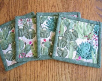 Quilted Coasters in a Cactus Pattern - Set of 4