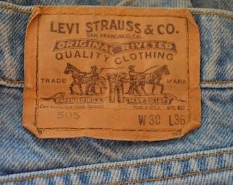 Vintage LEVI'S 505 w30 l36 Made In USA orange tab 80's denim blue jeans