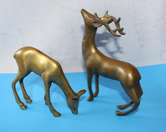 Vintage Solid Brass Deer, Buck and Doe