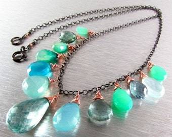 25OFF Green and Blue Mixed Gemstone Oxidized Silver With Rose Gold Necklace, Boho Style Necklace