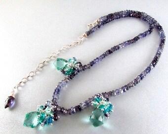 25% Off Aqua Quartz Cluster and Iolite Gemstone Necklace