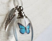 Fill Yourself Crystal Cremation Ash Urn Butterfly Urn Angel Wing Necklace Pet Cremation