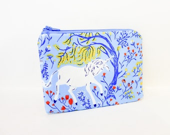 Unicorn Pouch, Blue Pouch, Zipper Pouch, Cosmetic Pouch, Fabric Pouch, Pouch, Zipper Pouch, Gift Under 20, Gift for Her, Unicorns in Blue