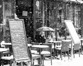 Paris Photography, Snow in Montmartre, winter photography, Paris in the snow, France, Paris Photography, Parisian Cafe, Black and White
