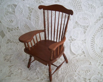 Miniature, One Inch Scale, Hand Made, Writers Chair by Jon Hinrichsen in 1978
