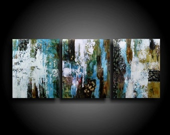Large Abstract Painting 20 x 48 Modern Canvas Wall Art Raw Earthy Outsider Art Heavy Texture Painting Original Artwork Masculine Zen