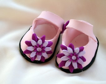 Pink Baby Girl Polymer Clay Shoes, Cake Topper, Centerpiece, Collectible