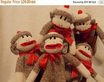 ON SALE Handmade Pocket Sock Monkey Doll, Amigurumi Mini Monkey, Redheel Socks, Personalized, Limited Edition-Purse Size Monkey, Doll Toy