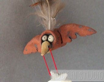 Flying Bird with Star Miniature Ceramic Scuplture