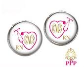 Monogram Earrings - Personalized Jewelry - Nurse Monogram Earrings - Monogram Gift - Monogram Jewelry - Style 636