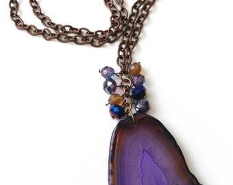 Amazing Semi Precious Purple Agate Pendant Necklace