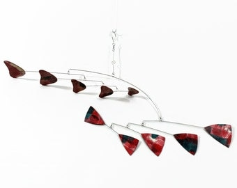Black and Red Art Mobile -  READY TO SHIP - Classic Style - Features Horizontal and Vertical Hand Painted Components
