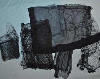 Vintage Black Lace Netting Pieces for Reuse