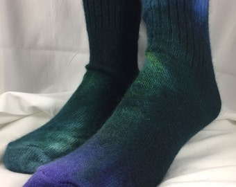 Angora socks, green purple size 10-13, Ankle Tall. Valentine's Day gift