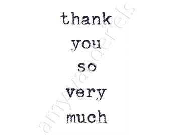 Typewriter Design -  thank you so very much -  Box of 6 Blank Note Cards