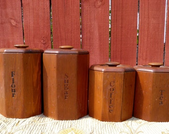 1960u0027s   70s Flour Sugar Coffee U0026 Tea Wood Canister Set, Rustic Mid Century  Modern