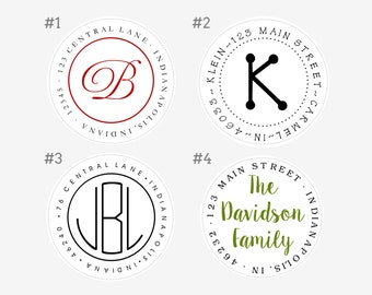 Personalized Round Sticker Address Labels - Classic - Set of 48