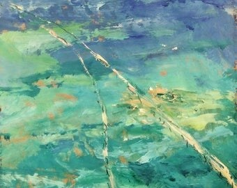 The Florida Keys, 7 miles Bridge  11 x 14 inches FREE SHIPPING seascape Painting, impressionist acrylic art, sea and ocean
