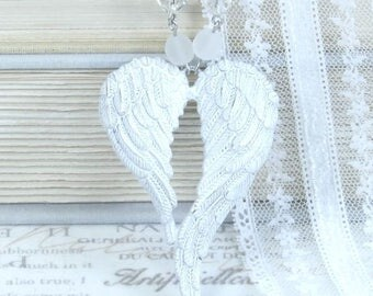White Victorian Necklace Angel Wing Necklace Long Necklace Wing Pendant Necklace White Wing Necklace