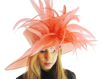 Gorgeous Coral Pink Woodpecker Hat for Kentucky Derby, Weddings (40 colours available)