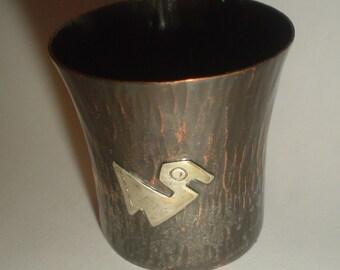 Spirit measure shot measure beaker cup drink bar shot glass copper and sterling silver Peru Vicky vintage