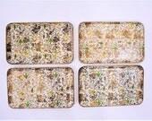 1960s plate set | set of 4 novelty bird print gold Viking Japanese snack plate set | vintage 60s plate set