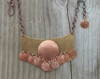 BoHo Necklace, Statement necklace BoHo style, Mixed metal design, Brass jewelry designs, copper jewelry, bib necklace,nickel free,allnatural