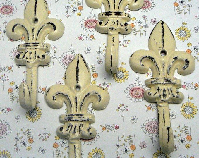 Fleur de lis Cast Iron Shabby Chic Off White Mini FDL Set 4 Wall Hooks Home Decor