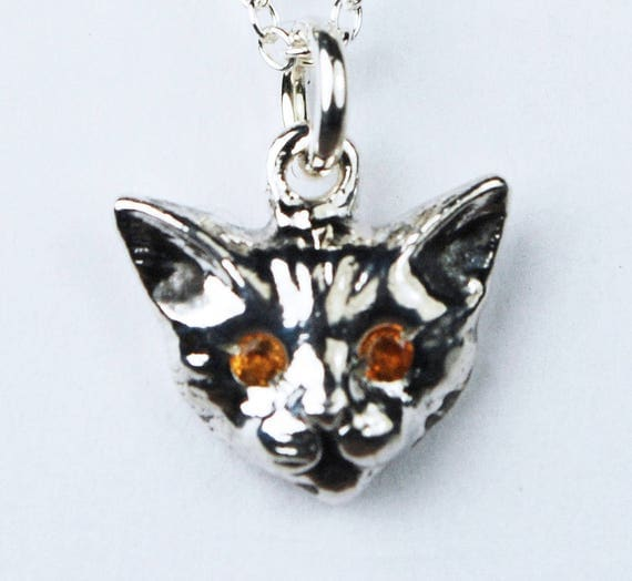 Sterling Silver and Citrine Kitty Cat Charm