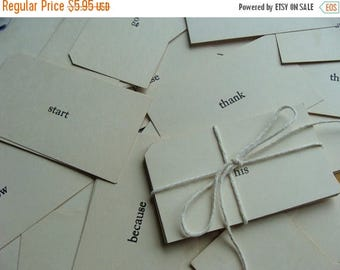 ON SALE One Dozen  Vintage Word Flash Cards