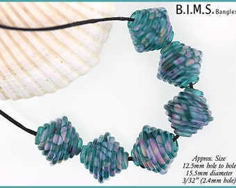 Lampwork Beads, Teal, Pink and Purple Ribbed Bicone lampwork beads, Bims Bangles, Made to Order, Teal Swirled Glass Frit