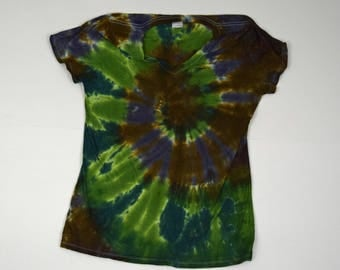 Camo Spiral Tie Dye T-Shirt  (Fruit of the Loom Heavy HD Ladies V-neck Size L) (One of a Kind)