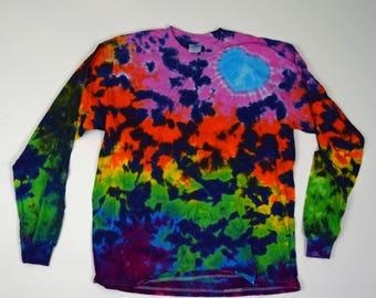 Cosmic Starfield Love ~ Scrunch Tie Dye T-Shirt  (Gildan Heavy Cotton Longsleeve Size L) (One of a Kind)
