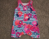 Baby Girl Summer Romper Sized 6-9 in Pink Floral and Navy Blue Stripe