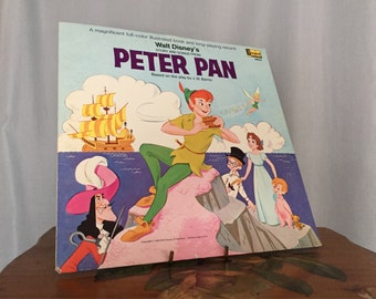 Peter Pan Album Vintage Record Read Along Book Disney 1969