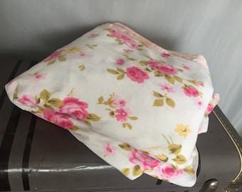 White Blanket Pink Roses Floral Shabby Chic Vintage Farmhouse Home Decor Bedding