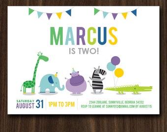 Animals Parade Birthday Invitation, Modern Zoo Animals Birthday Invitation, Animals Invite 7x5in DIGITAL FILE
