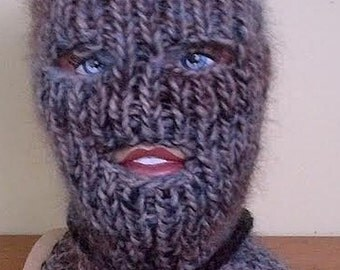 Lopi Mohair sweater Balaclava One of a Kind with eyes and mouth opening random shading hand knitted  by uniquemohair