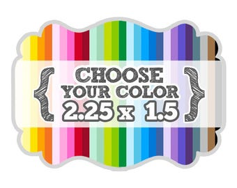 2 1/4 x 1 1/2 inches - Choose Your Color - Die Cut Tags - Party Favors, Scrapbooking, Bracket Labels, Gift Tags, Price Tags, Hang Tags