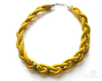 Yellow Braided Necklace-ThousandBraids by FridaWer-Braided Choker,braid Necklace,Textile necklace,Statement Necklace,Fiber Jewelry