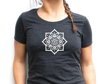 Lotus Tshirt - Lotus Flower Screenprint - Bella Canvas Triblend Short Sleeve - Small, Medium, Large, XL