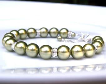 Green Pearl Bracelet, Lime Green Bracelet, Olive Green Bridesmaids Gift, Bridal Jewelry, Wedding Bracelets, Sterling Silver
