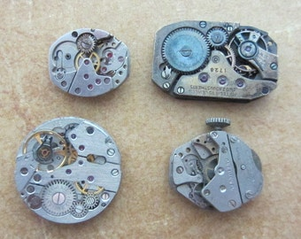 Featured - Steampunk supplies - Watch movements - Vintage Antique Watch movements Steampunk - Scrapbooking b10