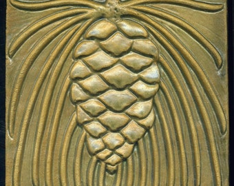 "Craftsman Style Pine Cone Tile in Buff / Tan  6"" Square Handmade Art Tile"