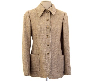 Vintage Tweed Wool Jacket Anne Klein Size Small brown // late 70s early 80s hip pockets lined coat 1970s 1980s S