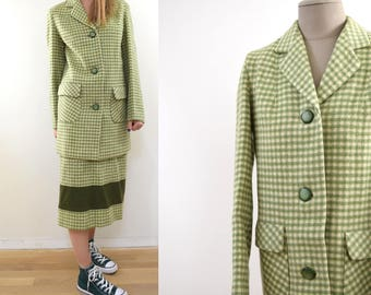 Vintage Plaid Checked Wool Green Ivory Plaid Jacket and Skirt 40s 50s Wico metal zipper 1940s 1950s Colberta B.W. Ball & Co. Wellington