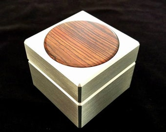 Custom Solid Metal Engagement Ring Box w/ Cocobolo Inlay