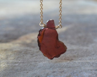 Garnet Slice Necklace on Gold January Birthstone