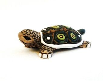 Artesania Rinconada Green Tortoise Turtle Vintage Pottery Figurine Signed AR Uruguay