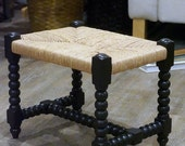 Vintage rush stool, spool style hand turned wood, restored farm house design, late 1800 to early 1900's